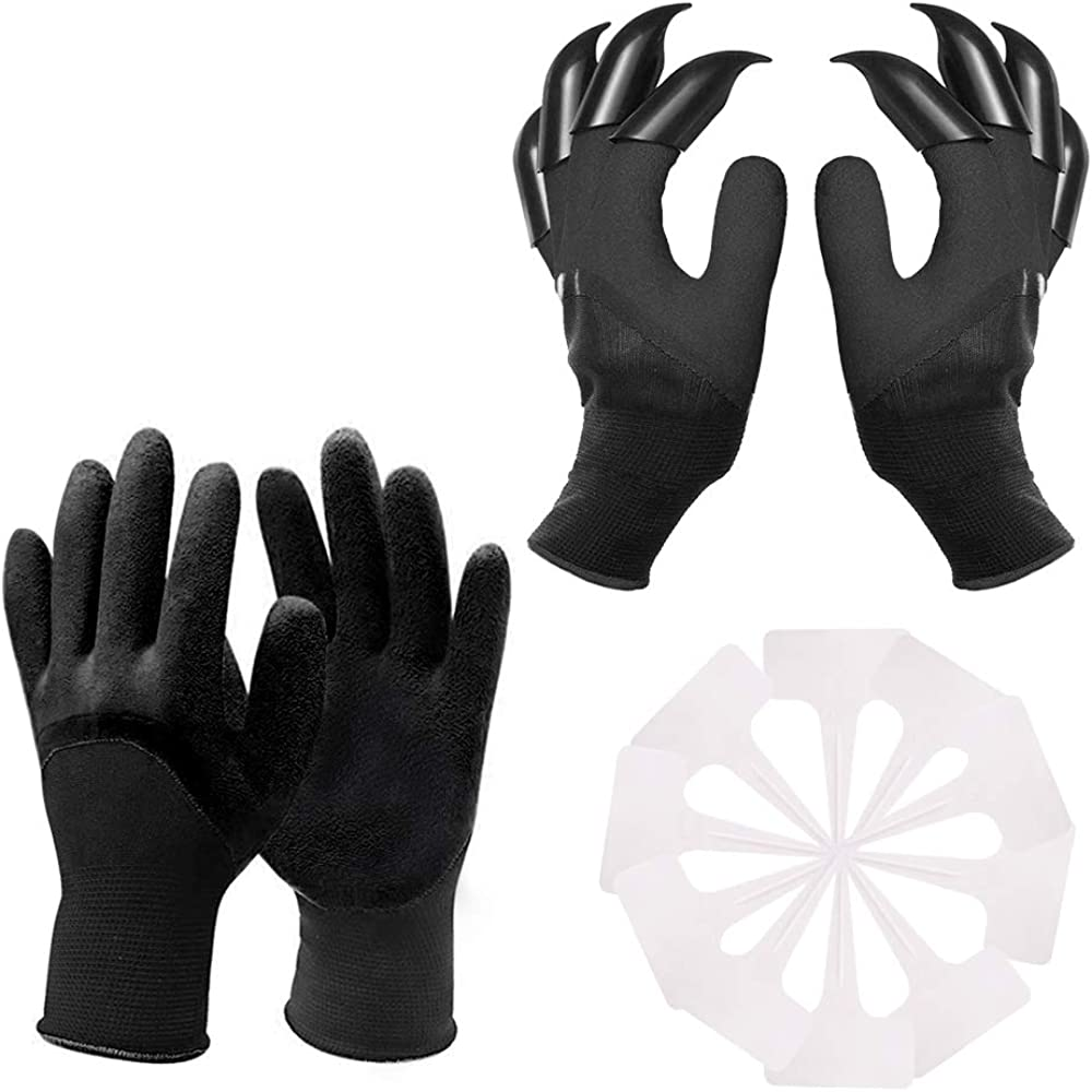 Garden Genie Gloves with Claws, Waterproof and Breathable Garden Gloves for Digging, Planting, Weeding, Seeding, Protect Nails and Fingers, Best Gardening Gifts for Women and Men (Black 2 Pairs)