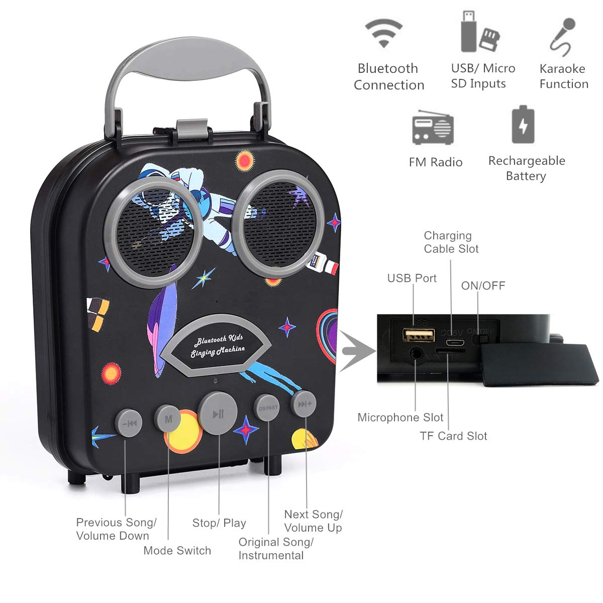 Kids Karaoke Machine with Microphone, Bluetooth Rechargeable Kids Handbag Karaoke Music Player Toy Children MP3 Player Loudspeaker with Microphone (Handbag Black) by Kidsonor (Image #2)