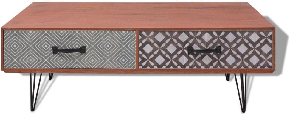 Metal Color Gris 100 x 60 x 35 cm Festnight Mesa de Centro con 4 Cajones Materia de MDF