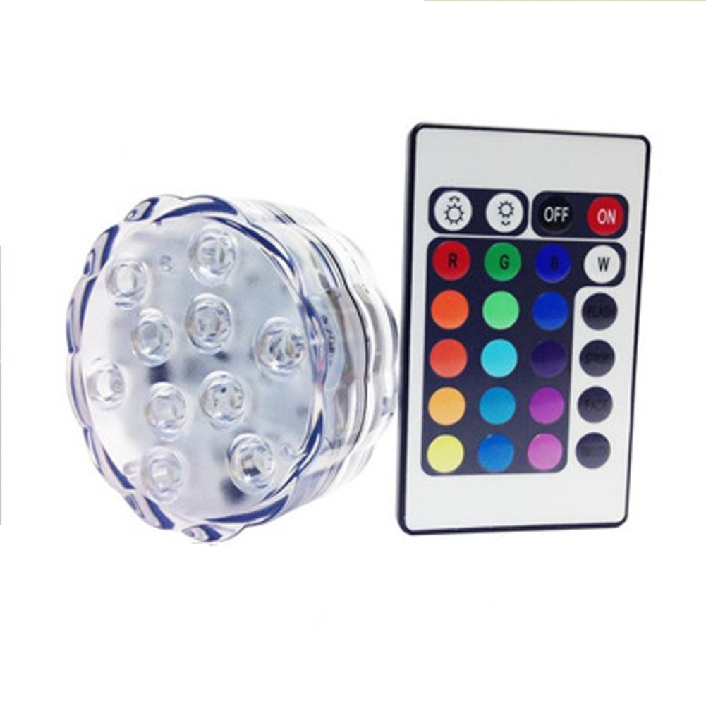 LEDHOLYT 1W 10 LEDs RGB Romote Control Submersible Waterproof Multi Color Vase Base Floral Fish Tank Underwater Light