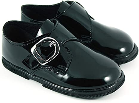 Baby Boys Black Patent Shoes - Size 2