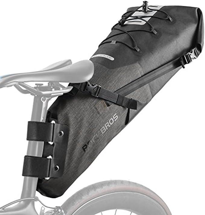 RockBros Bicycle Handlebar Bag Waterproof Cylinder Cycling Bag Black Gold BG