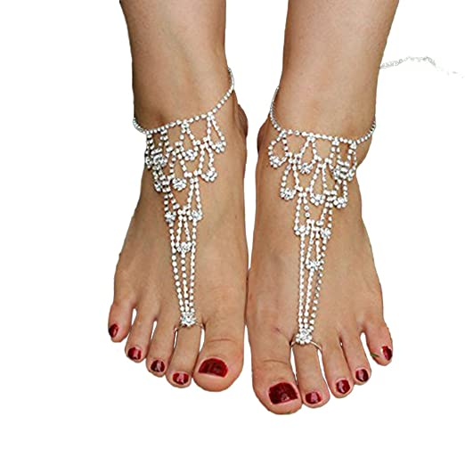 31a202cd4143d Amazon.com  SweetM 2pc Rhinestone Barefoot Sandals Bridemaids Wedding  Jewelry Toe Ring Anklets  Clothing