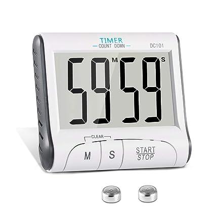 a5a48eb8430626 KOATECH Timer Digitale da Cucina Magnetico Timer da Cucina 24 Ore Conto  alla rovescia Timer elettronico e cronometro Allarme con Grande Display  LCD: ...