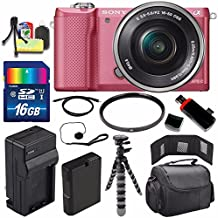 Sony Alpha a5000 Mirrorless Digital Camera with 16-50mm Lens (Pink) + Battery + Charger + 16GB Bundle 1 - International Version (No Warranty)