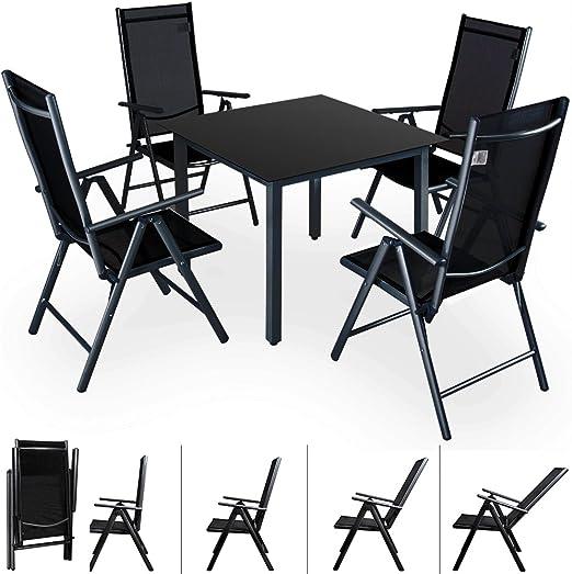 Deuba conjunto de jardín juego de mesa y sillas plegables de ...