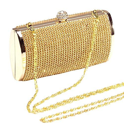 Shiny Clutch Glitter Gold Wiwsi Gold Bridal Bag Lady Handbag Purse Case Hard Fashion Chain q54XC