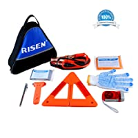RISEN Roadside Car Emergency Kit/Auto Safety Assistance Kit/Road Travel First Aid Kit with Jumper Cables,Reflective Warning Triangle,Tire Gauge,Emergency Hammer and more for Car or Truck
