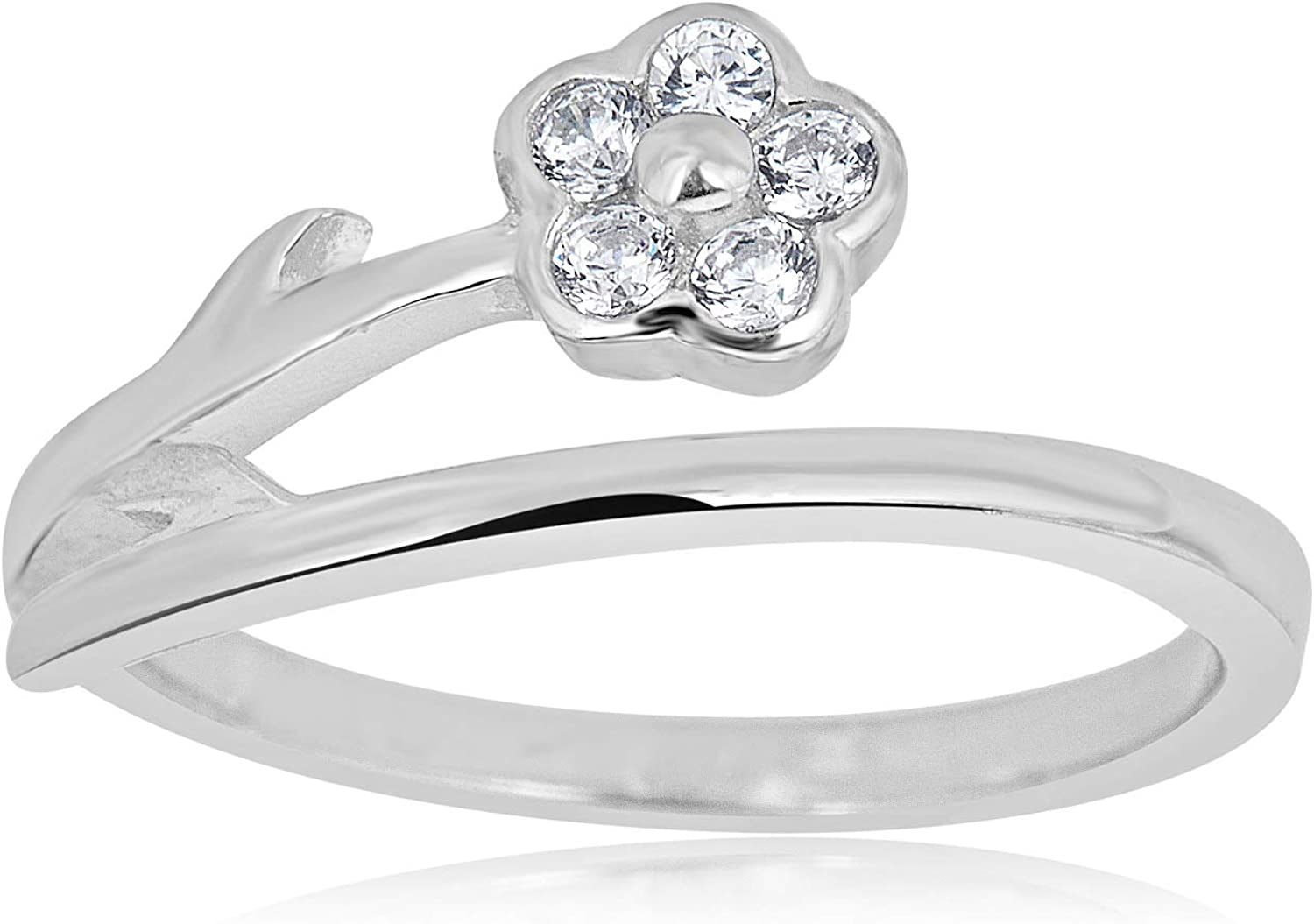 AVORA 925 Sterling Silver Adjustable Butterfly Toe Ring with Simulated Diamond CZ