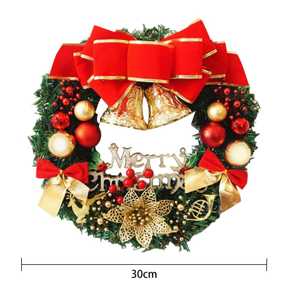 Gudotra 30CM Ghirlanda Natalizia Merry Christmas Corona Natale Decorazione per Porta di Casa Feste Natale
