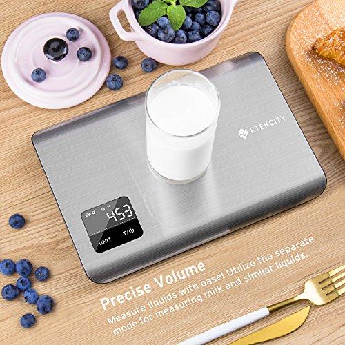 Etekcity EK7017 Digital Kitchen Multifunction Touch Scale, 11 lb 5 kg, Food Grade 304 Stainless Steel (Batteries Included), Large, Silver by Etekcity (Image #3)
