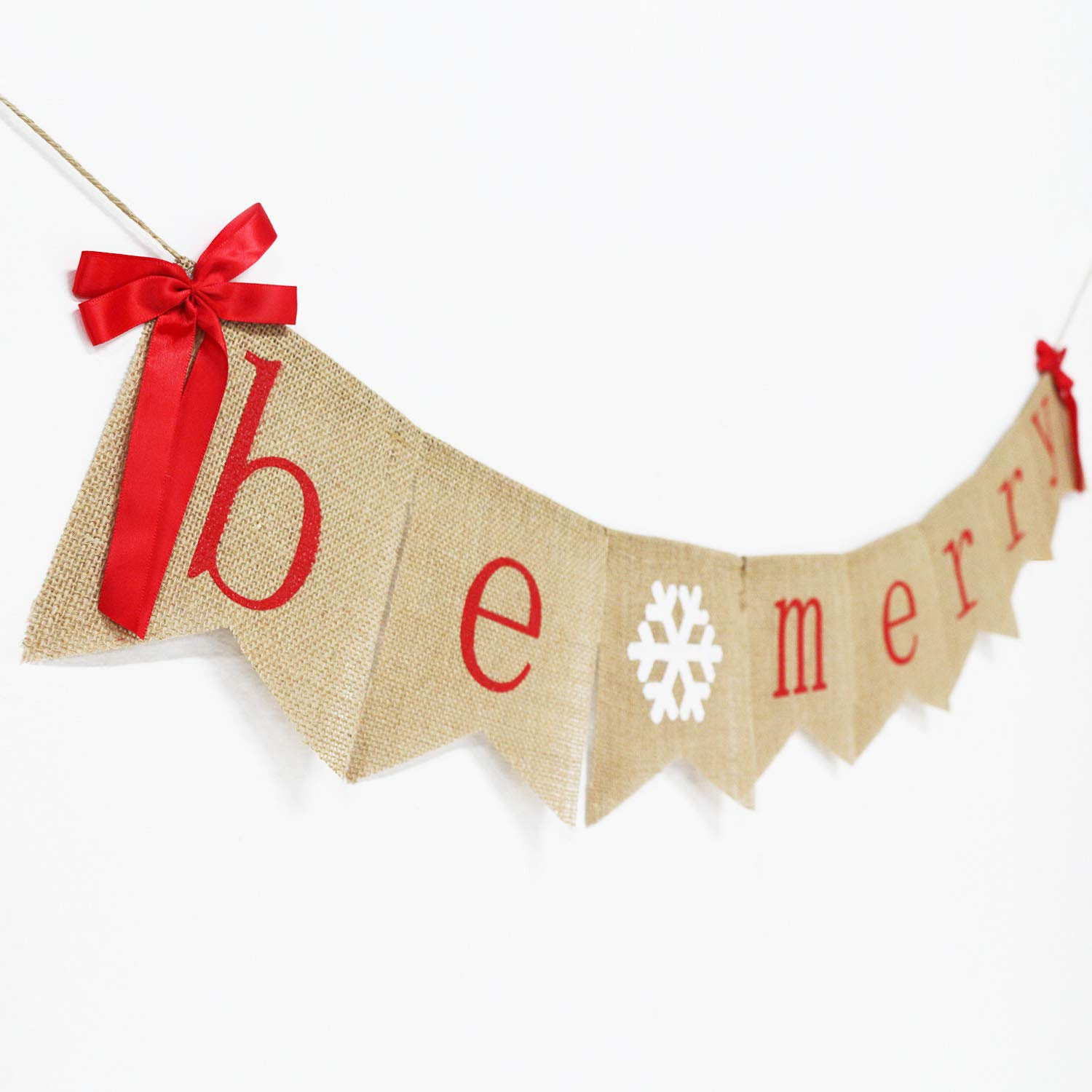 Be Merry Burlap Banner with Two Bow Ribbons