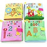 iDream Soft Cloth Book Letters Numbers Shapes Animals for Kids (Pack of 4)