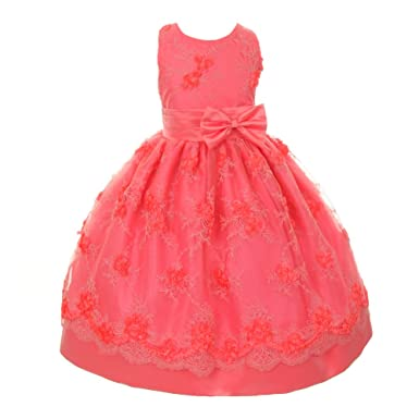 762ecf60c2e3 Shanil Inc. Little Girls Coral Bow Sash Embroidered Easter Flower Girl Dress  2T