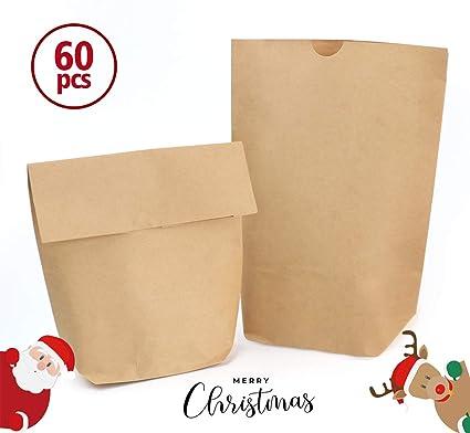 24 x 10 x 6 cm Tüte Geschenkverpackung Adventskalender 12 Papiertüten braun ca