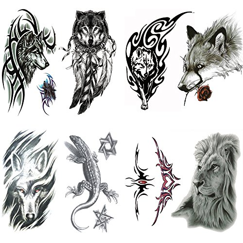 Qufan Arm Tattoo for men, Teens Guys,kids boys (8 Sheets) by, Waterproof Fake Tattoos Stickers for Shoulders Chest & Back- Biker Tattoos - Koi Fish,skull,tribal, totem,wolf,owl
