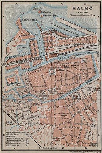 karta vintage Amazon.com: MALMO & LUND Malmö antique town city stadsplans  karta vintage