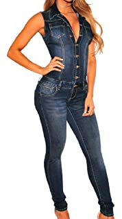 f69444b6e96 Winwinus Womens Turn Down Collar Sexy Sleeveless Slim Denim Big Pockets  Fashionable Jumpsuit Romper