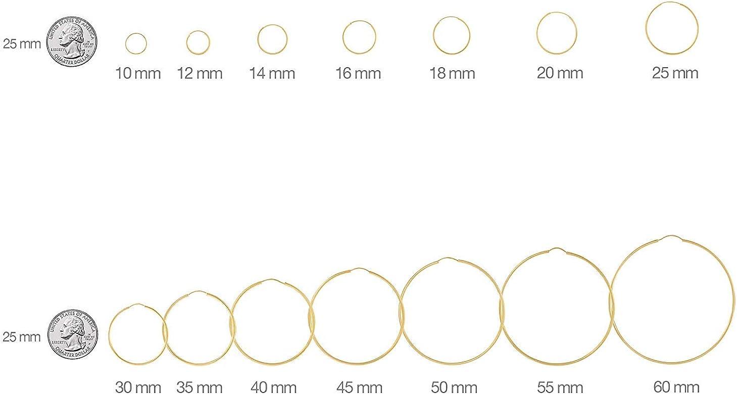 Womens 925 Sterling Silver Diamondcut 1.5mm Hoop Earrings 25,30,35,40,45,50,60mm
