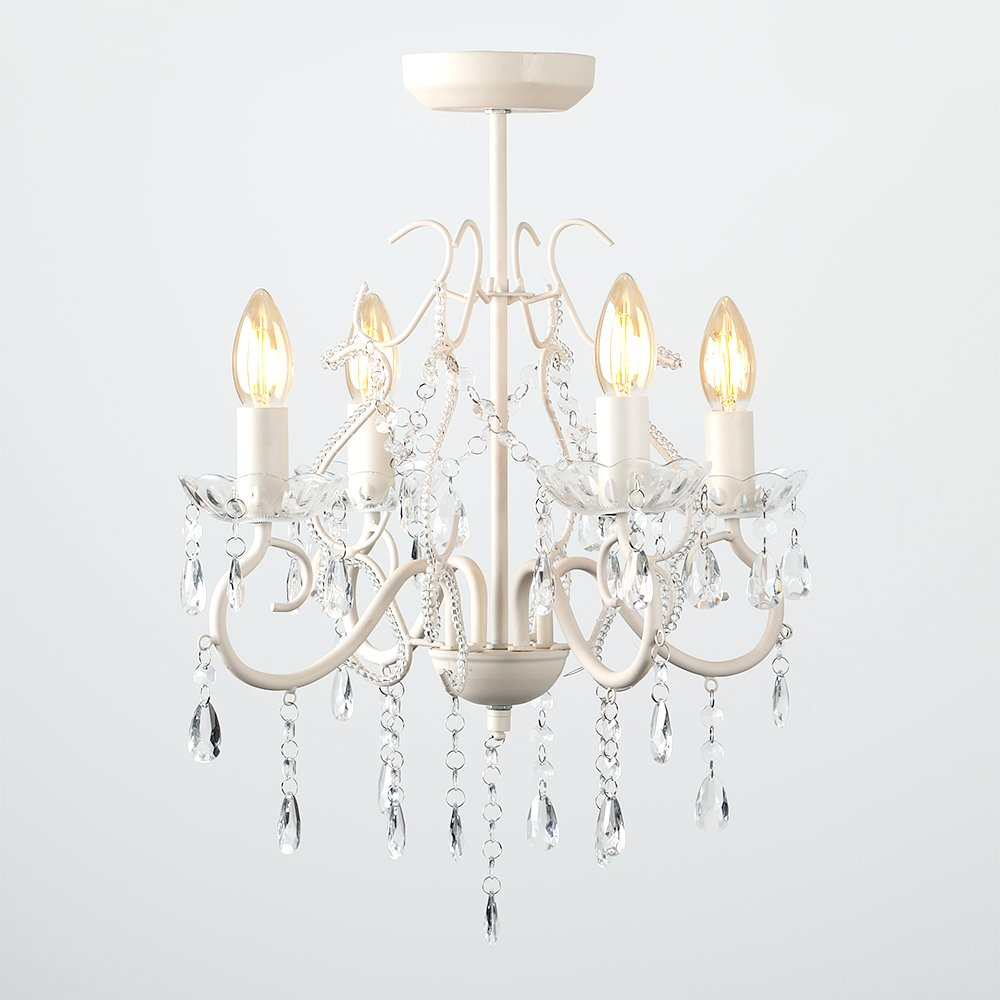 Shabby Chic Distressed Cream 4 Way Semi Flush Decorative Ceiling Light Chandelier Complete With Minisun 2w Led Filament Candle Bulbs 2700k Warm White