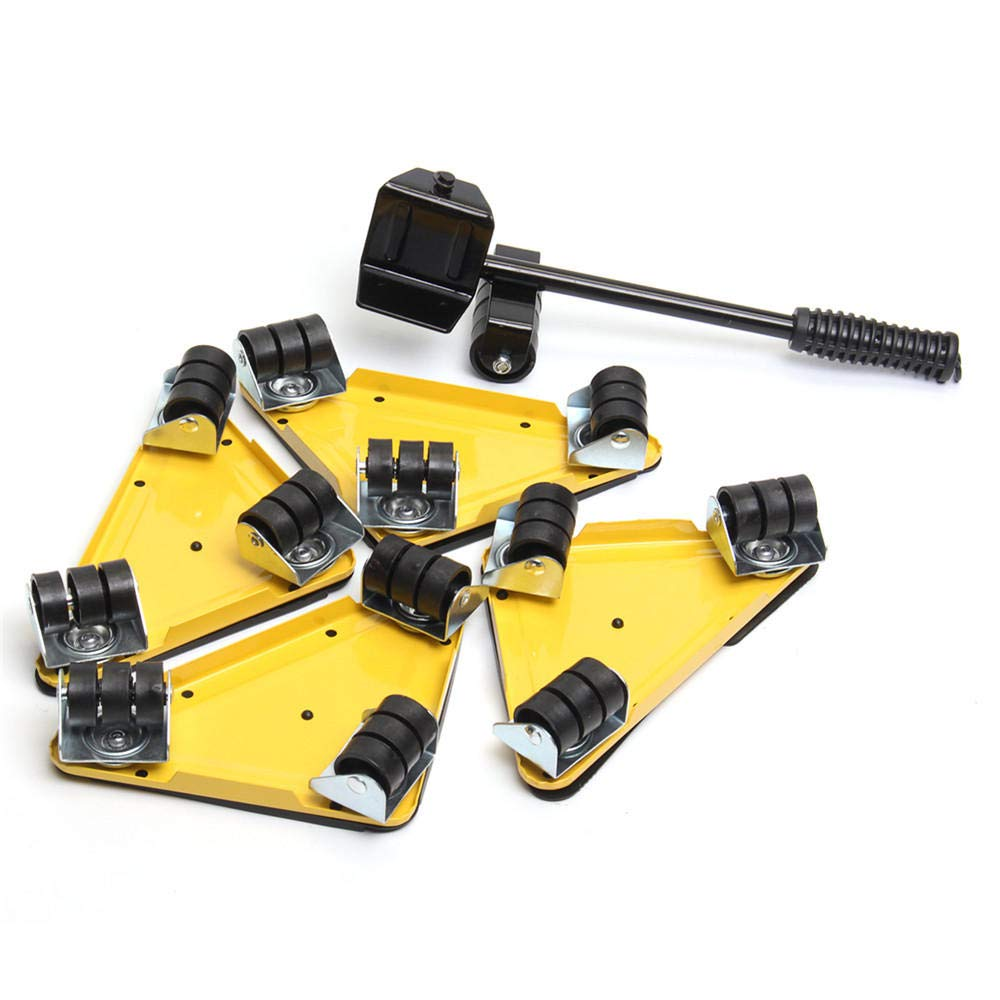 5PCS Furniture Lifter Moves Triple Wheels Mover Sliders Tools Kit Furniture Moving System - Yellow by Anddoa (Image #3)
