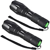 LED Flashlight, AMASKY XLM-T6 Zoomable Water Resistant Bright LED Flashlight with 1600LM Torch Adjustable for OutdoorBottom Click (2 in pack)