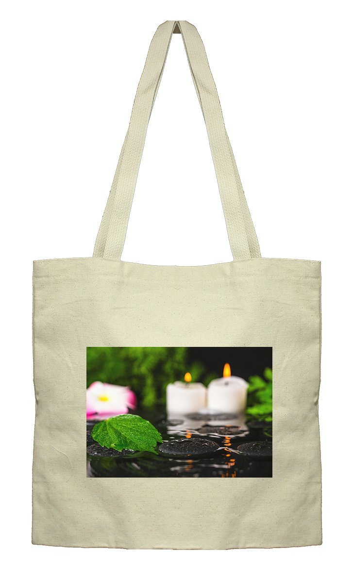 Flat Market Canvas Tote Spa Concept Hibiscus Plumeria Candle By Style In Print by Style in Print (Image #1)