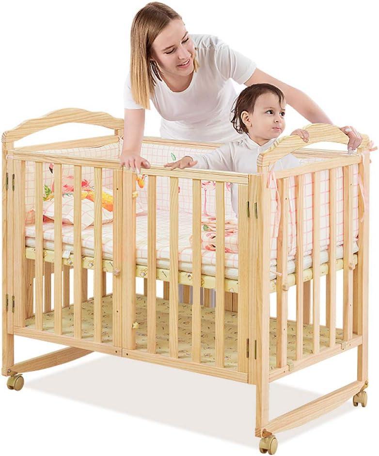 VBARV Cuna Plegable con colchón y mosquitera, Hecha de Pino Natural, Cuna Multifuncional, Mesa de Estudio Convertible, Adecuada para niños de 0-12 años.