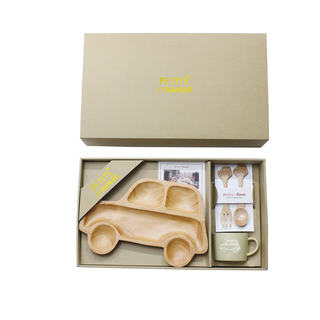 Time Concept Petits Et Maman Wooden Dinnerware Gift Set for Kids - Car