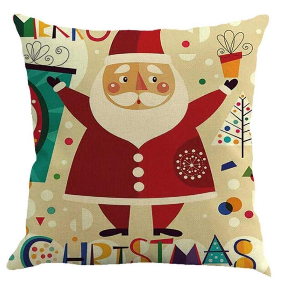 Fittingran federe cuscini federe cuscini, Fittingran Federa di Natale stampata Federa di Buon Natale Custodia in lino Cuscino per divano Home Decor Multicolor Federa