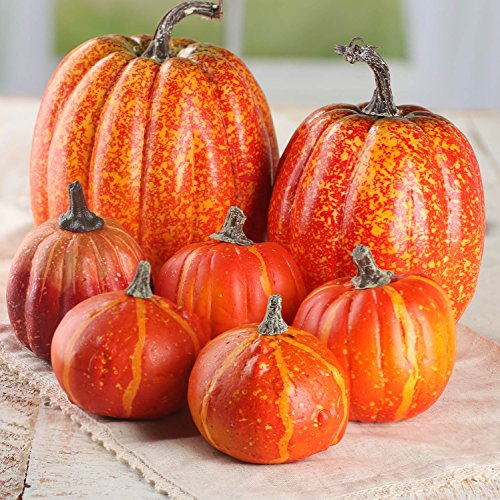 Factory Direct Craft Package of 7 Assorted Size Artificial Pumpkins for Halloween, Fall and Thanksgiving Decorating