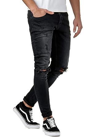 EightyFive Herren Denim Destroyed Jeans-Hose Skinny Fit Zerrissen Schwarz  EFJ185, Farbe Schwarz c1ad1befbb