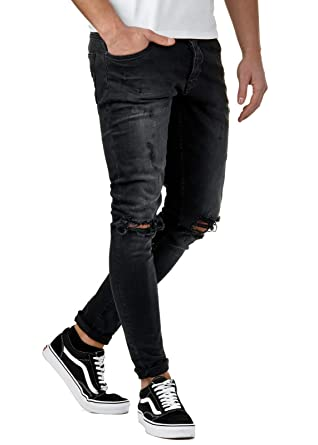 f607c7aa58a2ef EightyFive Herren Destroyed Jeans Slim Fit Skinny Stretch Denim Schwarz  EF1512  Amazon.de  Bekleidung