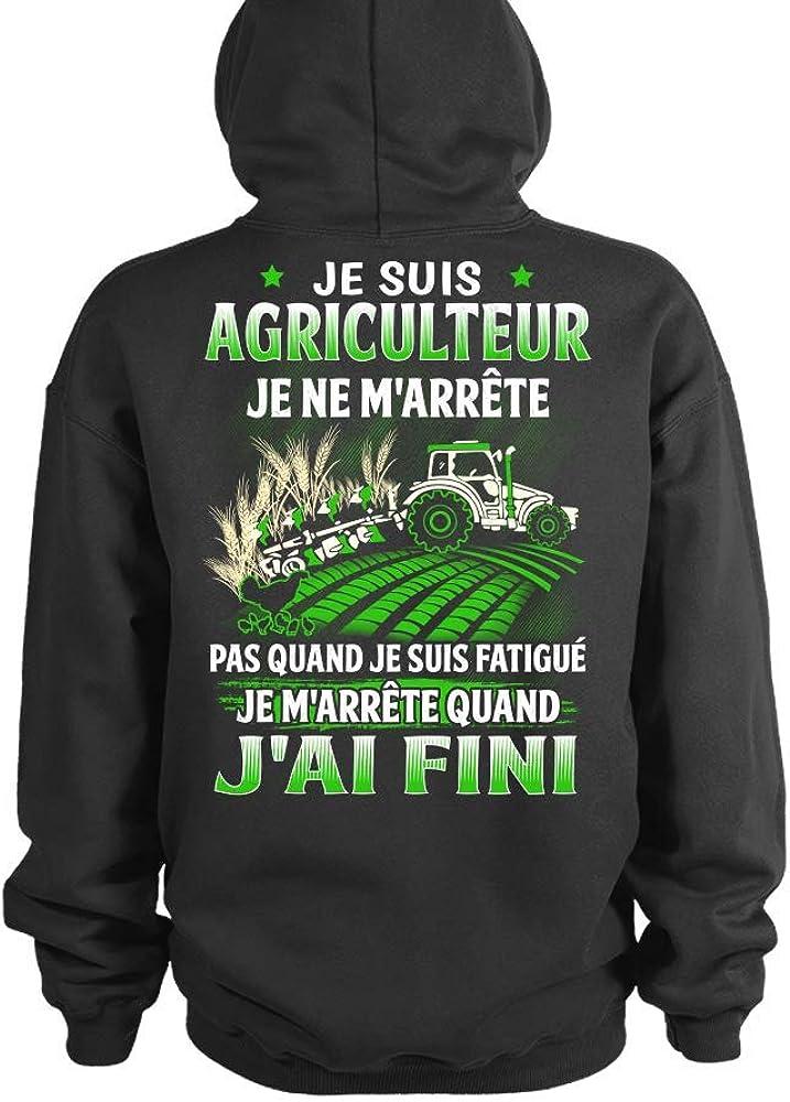 TEEZILY Sweat /à Capuche Je suis Agriculteur JAi Fini Unisex