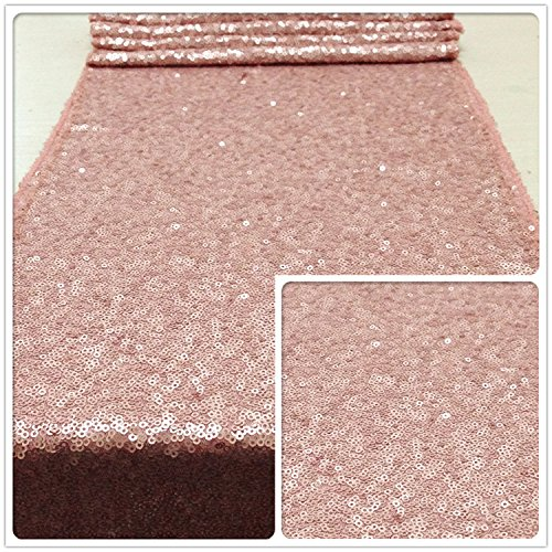 """TRLYC 12""""*132"""" Romantic Blush Sequin Table Runner Sparkly Rectangle Luxury Wedding Table Decor"""