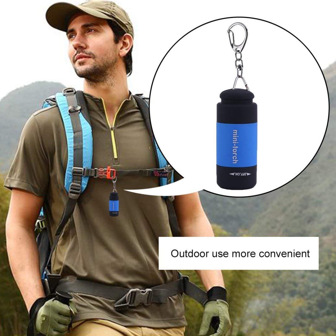 Color: azul Mini llavero linterna USB recargable linterna l/ámpara 0.5W 25Lm antorcha el/éctrica
