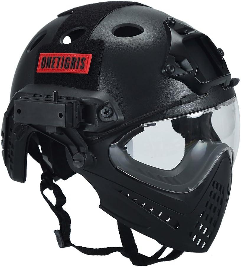 Casco táctico, de OneTigris, con máscara y gafas de protección, para Softair