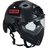 OneTigris 顔保護ヘルメット PJタイプヘルメット ミリタリー風 オリジナル マスク&ゴーグル付属一体型 取り外し可 多機能 (ブラック)