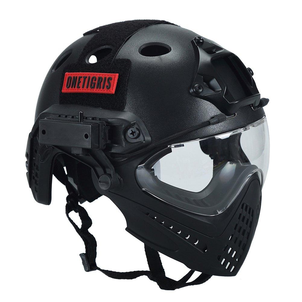 Casco táctico, de OneTigris, con máscara y gafas de protección, para Softair, Negro , Kopfumfang: 52-60cm: Amazon.es: Deportes y aire libre
