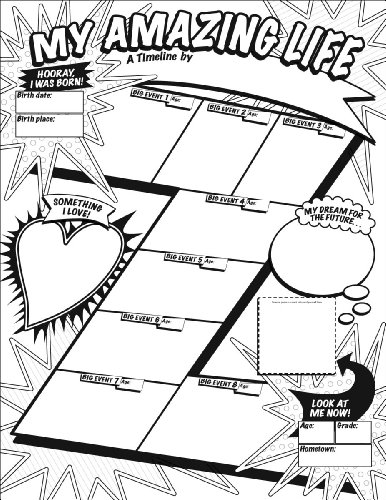 Graphic Organizer Posters: My Timeline (Grades 3–6): 30 Fill-in Personal Posters for Students to Display with Pride Timeline Poster