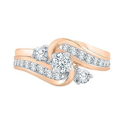 38e1e9f48 Amazon.com  KATARINA Diamond Bridal Set in 14K Rose Gold (1 cttw ...