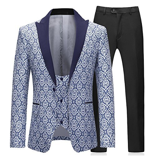 Boyland Mens 3 Pieces Tuxedo Suits Formal Wedding Peaked Lapel Blazer with Vest and Trousers Prom Tuxedo from Boyland
