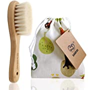 Haakaa Wooden Baby Hair Brush Natural Soft Goat Bristle for Newborns Toddlers Use for Cradle Cap Treatment 100% PVC, BPA & Phthalate-Free,1pc