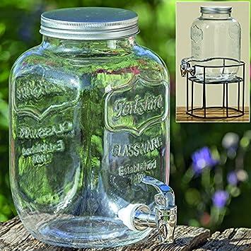 Dapo Getränkespender mit Hahn 4 Liter Saftspender Glaskrug für ...