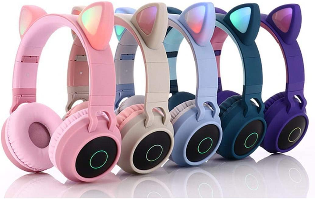 Corgy Cat Ear LED Bluetooth Stereo Headphones Game Glowing Foldable Headset with Mic Bluetooth Headsets