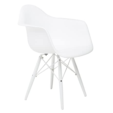 Bon American Atelier White Arm Shell Chair With White Wood Legs