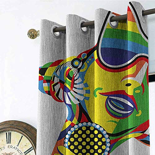 Popstar Party Outdoor Gromets Curtain For Patio Living Room Drapes , Abstract Design in Rainbow Colors Art in Shape of Starfish Performer Woman Design Darkening Curtains, Multicolor, W120 x L108 Inch