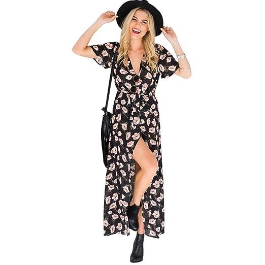 84e00e1a34e Sunward 2017 Summer Sexy Boho Bohemian Split Floral Print Flowy Party Maxi  Dress (S