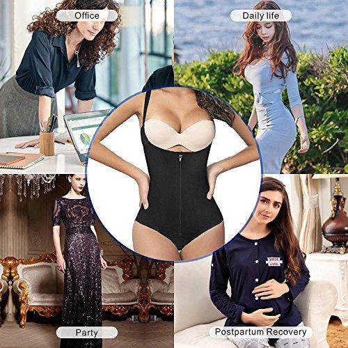 89f4dcdc854 SHAPERX Camellias Womens Seamless Firm Control Shapewear Zipper Closure  Open Bust Bodysuit Body Shaper Slimmer Shaperwear