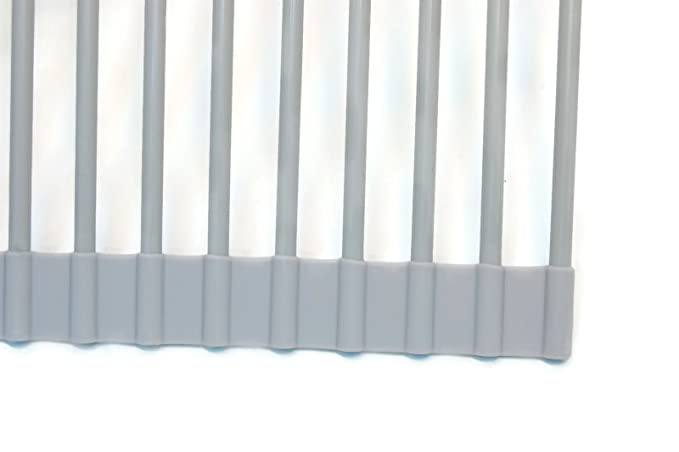 Eretz Premium Silicone Coated Roll Up Over Sink Drain Rack Grey